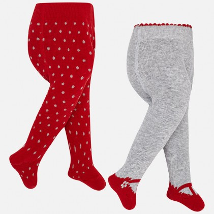 Set of 2 tights for baby girl red