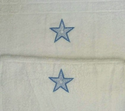baby embroidered towels blue star