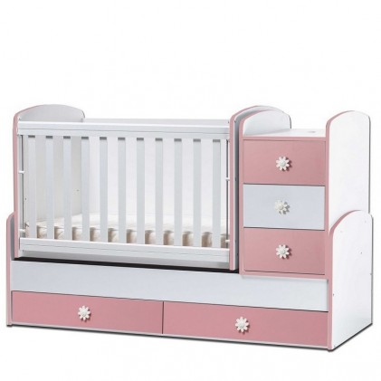 Multifunctional Baby Bed Nia White Pink