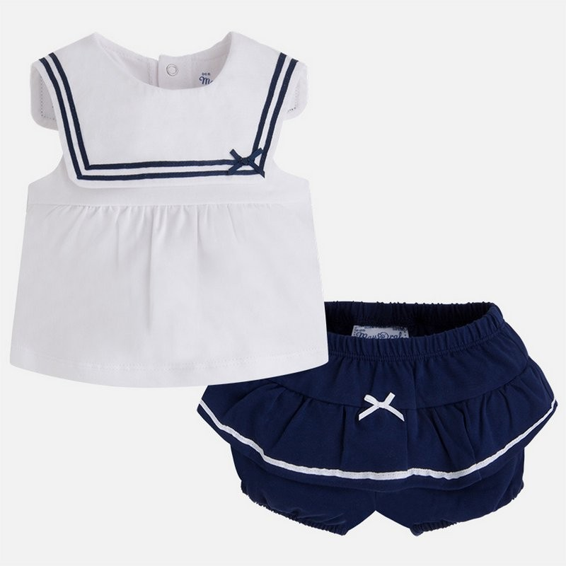 Patterned t-shirt short set blue marine