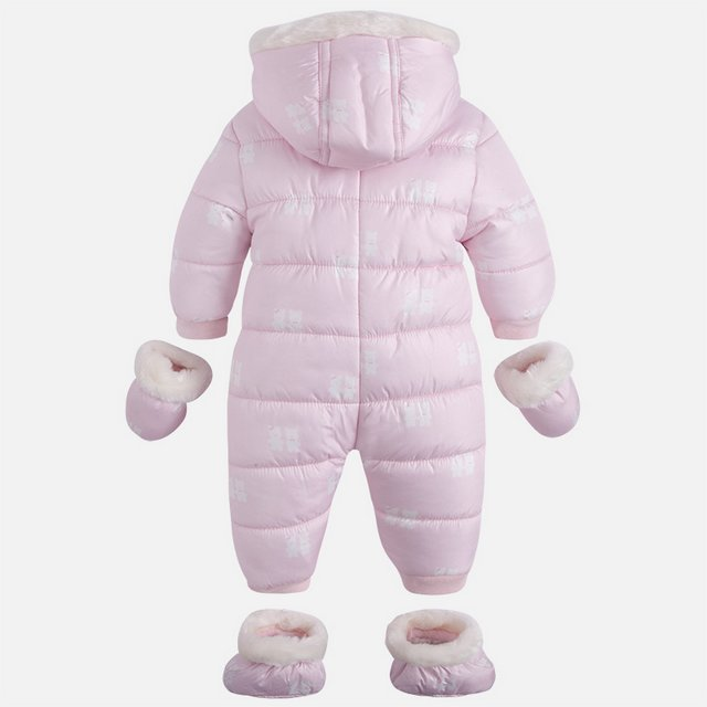 2e499df74 mayoral Baby flat-woven and faux fur snowsuit pink bear - baby ...