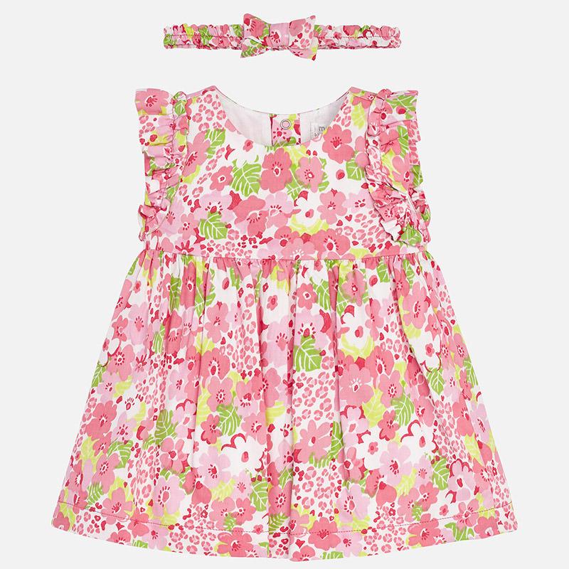 βρεφικό Φόρεμα ροζ λουλουδάτο με κορδέλα μαλλιών - Ρουχαλάκια ... 9ac22951632