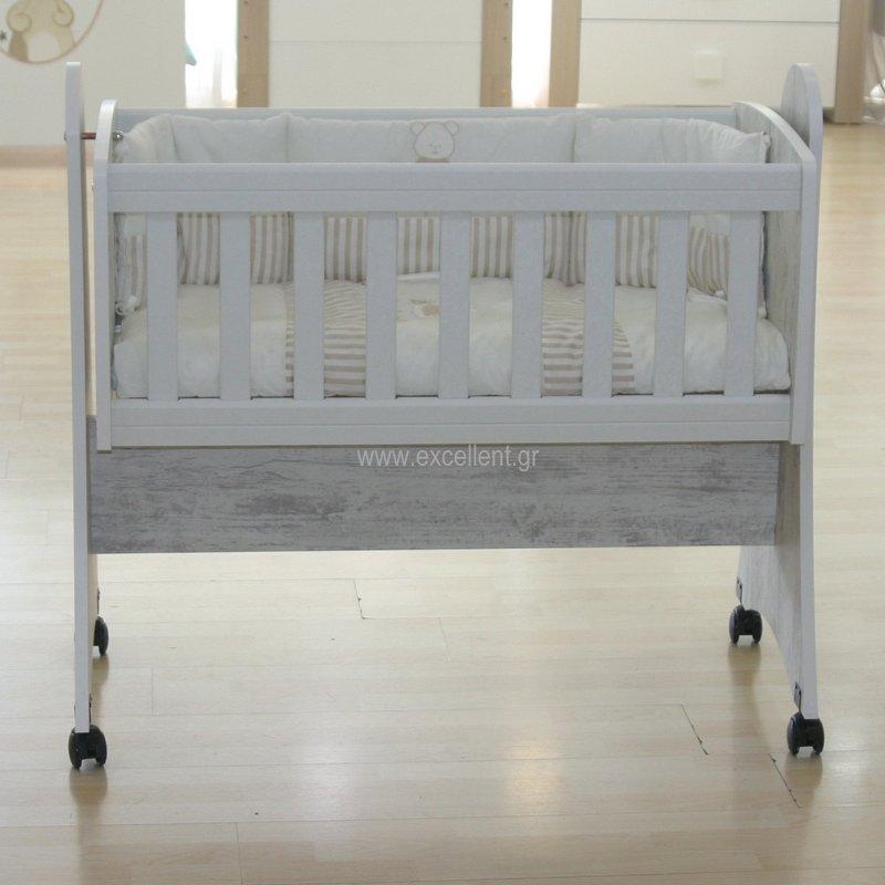 Λίκνο μωρού ξύλινο αντικέ γκρι - Βρεφικό Δωμάτιο - EXCELLENT 4829b4e42ca