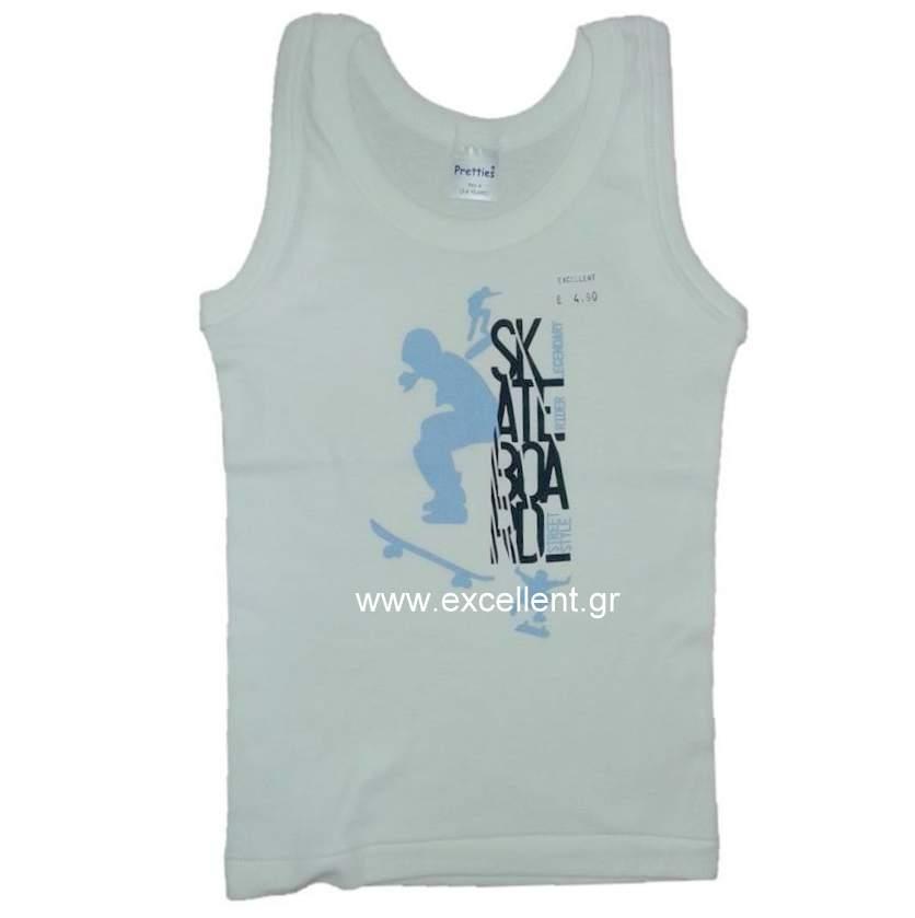 Αμάνικο φανελάκι λευκό για αγόρι skate - Εσώρουχα - EXCELLENT 8613eef79e8
