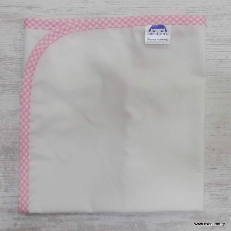Πάνα αγκαλιάς χασέ λευκή με ρέλι ροζ καρό - Προίκα μωρού - EXCELLENT 9fefa371df8