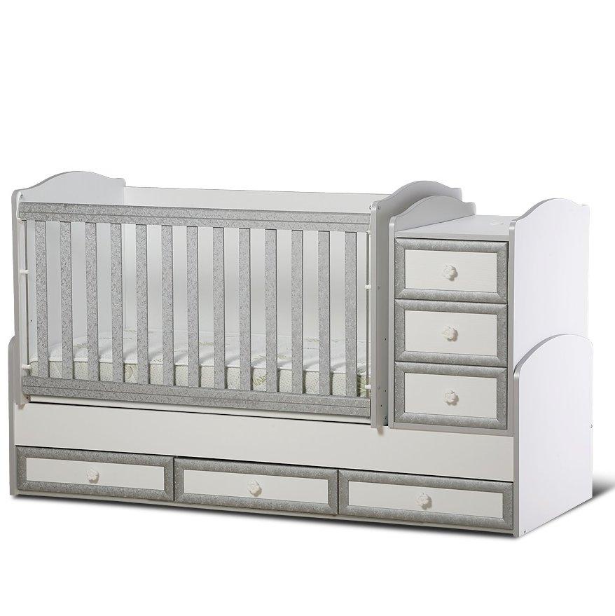 502e62ca44b Πολυμορφική κούνια μωρού Έλενα λευκό με γκρι μια πολύ καλή λύση για ...